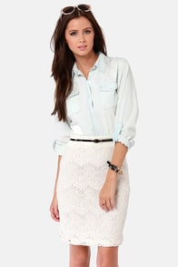 Lace of Business Ivory Lace Pencil Skirt at Lulus.com!