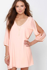 Shifting Dears Peach Long Sleeve Dress at Lulus.com!
