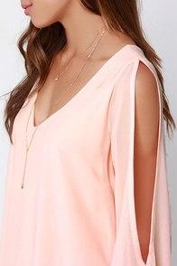 Shifting Dears Peach Long Sleeve Dress at Lulus.com!