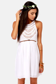 Crochet There! White Crochet Dress at Lulus.com!
