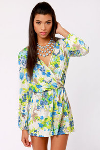 Camellia-on Club Blue Floral Print Romper