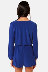 Camellia-on Club Royal Blue Romper at Lulus.com!