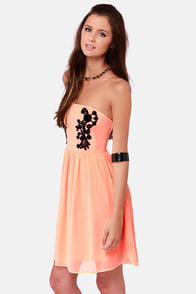 Splendid Soiree Strapless Bright Peach Dress at Lulus.com!