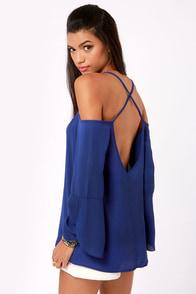 Shoulder of Fortune Off-the-Shoulder Royal Blue Top at Lulus.com!