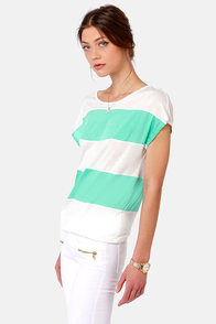 Line of the Times Mint and White Striped Top at Lulus.com!
