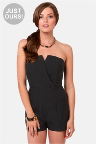 LULUS Exclusive Romp Around Strapless Black Romper at Lulus.com!