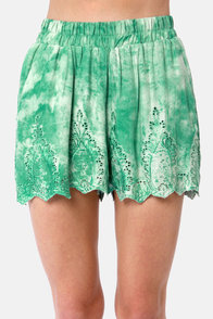 Shorts Fan Teal Lace Tie-Dye Shorts at Lulus.com!