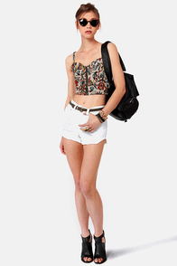 Without a Sprout Woven Floral Print Bustier Top at Lulus.com!