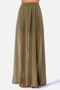 Floor de Lis Olive Green Maxi Skirt at Lulus.com!