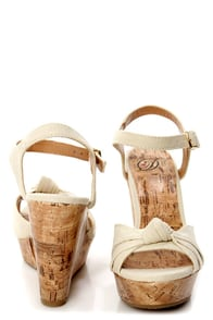 My Delicious Susie Pale Beige Knotted Peep Toe Wedge Sandals at Lulus.com!