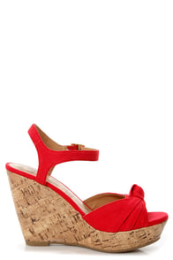 My Delicious Susie Red Cotton Knotted Peep Toe Wedge Sandals at Lulus.com!