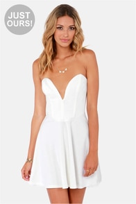LULUS Exclusive Flare Share Ivory Strapless Dress at Lulus.com!