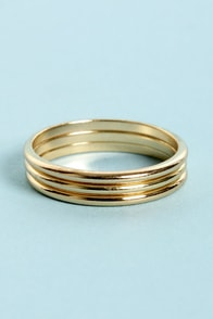 Trio Grande Gold Knuckle Ring Set