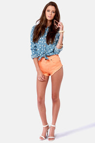 Huntingbird Cheeky Peach Jean Shorts at Lulus.com!