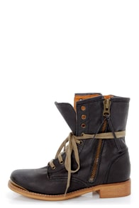 MTNG The Heroic 57240 Valle Black Leather Lace-Up Ankle Boots