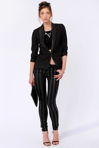 Tripp NYC Wide Stripe Black Over Black Striped Skinny Jeans
