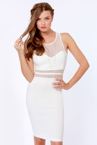 Mesh Who? Cutout Ivory Midi Dress at Lulus.com!
