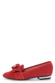Sixtyseven Kaci 74463 Serraje Red Bow-Topped Smoking Loafers at Lulus.com!