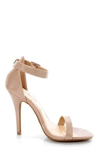 Anne Michelle Enzo 01N Nude Patent Single Strap Heels at Lulus.com!