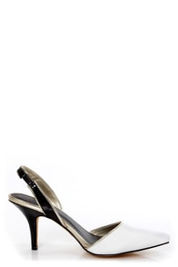 C Label Nina 1C White and Black D'Orsay Pointed Pumps at Lulus.com!