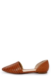 Report Silverton Cognac Slitted D'Orsay Pointed Flats at Lulus.com!