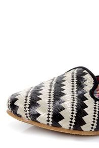 Not Rated Dodgy Black and Beige Woven Smoking Slipper Flats at Lulus.com!