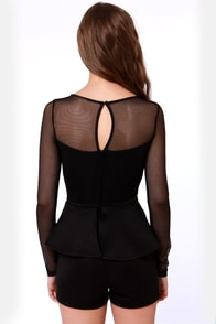 Bold Fashioned Long Sleeve Black Romper at Lulus.com!