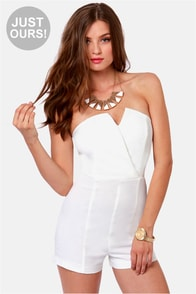 LULUS Exclusive Romp Around Strapless Ivory Romper at Lulus.com!