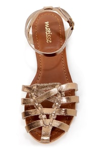 Matisse Jersey Gold Metallic Strappy Huarache Sandals at Lulus.com!