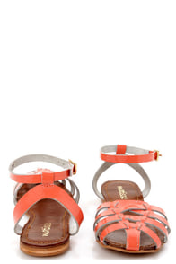 Matisse Jersey Coral Patent Strappy Huarache Sandals at Lulus.com!
