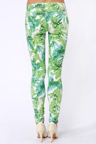 Moto Super Skinny Green Print Skinny Jeans at Lulus.com!