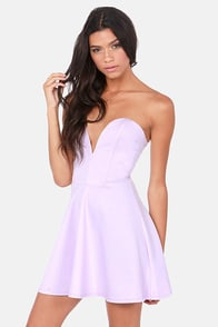 LULUS Exclusive Flare Share Lavender Strapless Dress at Lulus.com!