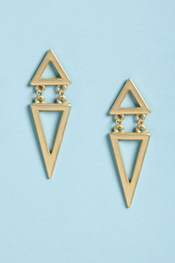 Trip to Tri-Land Gold Triangle Earrings at Lulus.com!