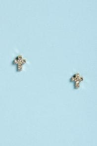 Cross-ing Guard Gold Cross Earrings at Lulus.com!