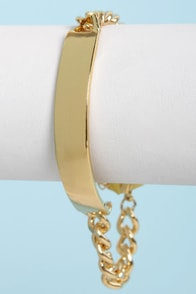 Say My Name Gold ID Bracelet at Lulus.com!