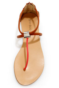 Bamboo Grayson 01 Chestnut Multi T-Strap Thong Sandals at Lulus.com!