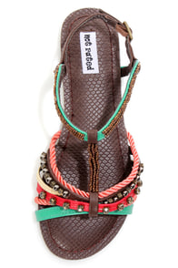 Not Rated Madness Chocolate Multi Beaded T-Strap Sandals at Lulus.com!