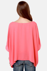 Square Necessities Coral Pink Top at Lulus.com!