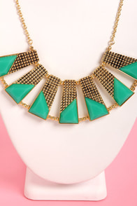 Plot the Points Gold and Teal Statement Necklace at Lulus.com!
