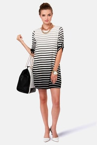 Grade-y Bunch Black and White Striped Dress at Lulus.com!