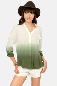 Cute Ombre Top Olive Green Top Ivory Top 36 00