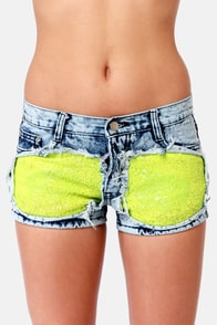 Gypsy Junkies Liberty Neon Sequin Shorts at Lulus.com!