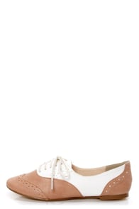 Restricted Sweet Pea Natural and White Saddle Shoe Flats at Lulus.com!