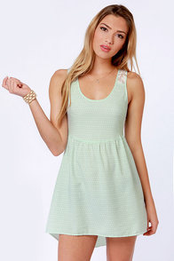 O'Neill Statement Lace and Mint Print Dress at Lulus.com!