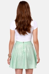 Flecks and the City Mint and Gold Skirt at Lulus.com!