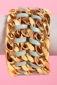 Queen of Chain Gold and Mint Green Bracelet at Lulus.com!