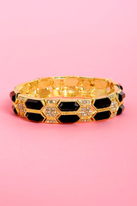 Geometric System Black and Gold Stretch Bracelet at Lulus.com!