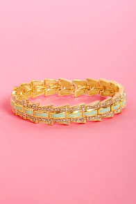 Sparkling Ticket Mint and Gold Stretch Bracelet at Lulus.com!
