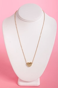 Game of Hearts Gold Heart Necklace at Lulus.com!