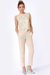 She Sells Seashells Cream Sequin Top at Lulus.com!
